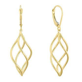 9ct Yellow Gold Swirl Cage Drop Earrings - Product number 5241472
