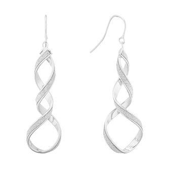 9ct White Gold Sparkle Open Twist Drop Earrings - Product number 5241480