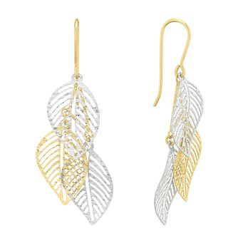 9ct Two Colour Gold 3 Leaf Drop Earrings - Product number 5241626