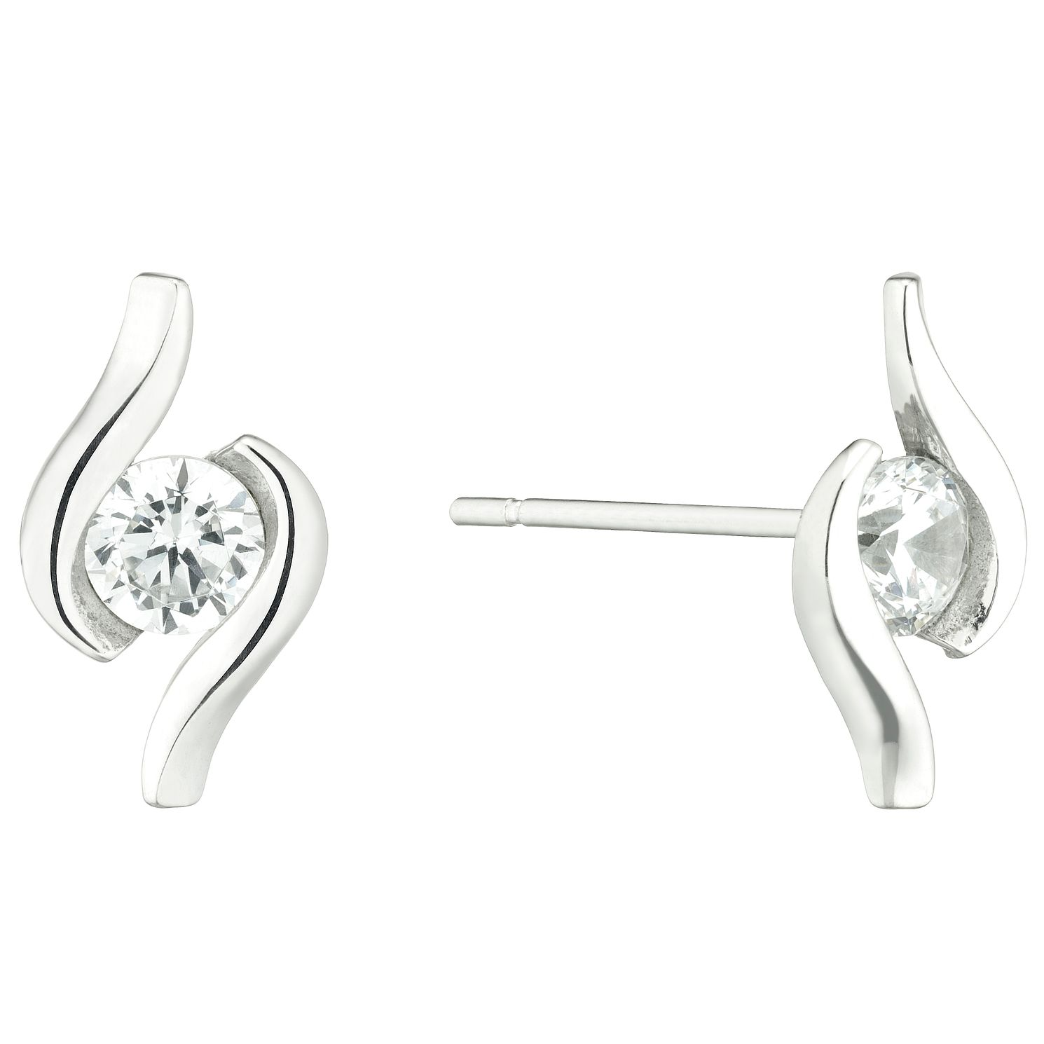 9ct White Gold Cubic Zirconia Swirl Stud Earrings - Product number 5241634