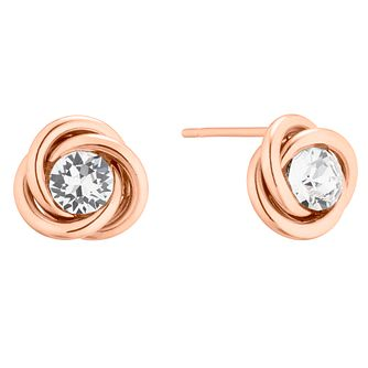 9ct Rose Gold Crystal Knot Stud Earrings - Product number 5241642
