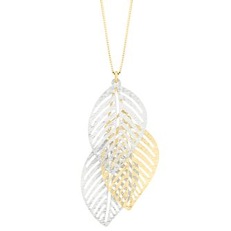 9ct Two Colour Gold 3 Leaf Pendant - Product number 5241669