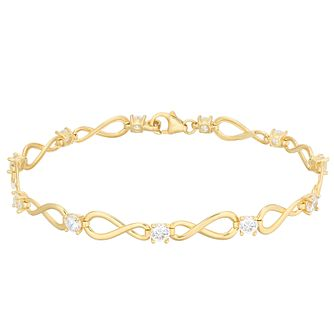 9ct Yellow Gold White Cubic Zirconia Infinity Bracelet - Product number 5241766