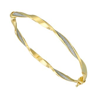 9ct Yellow Gold Sparkle Twist Bangle - Product number 5241782