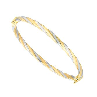 9ct Two Colour Gold Twist Bangle - Product number 5241790