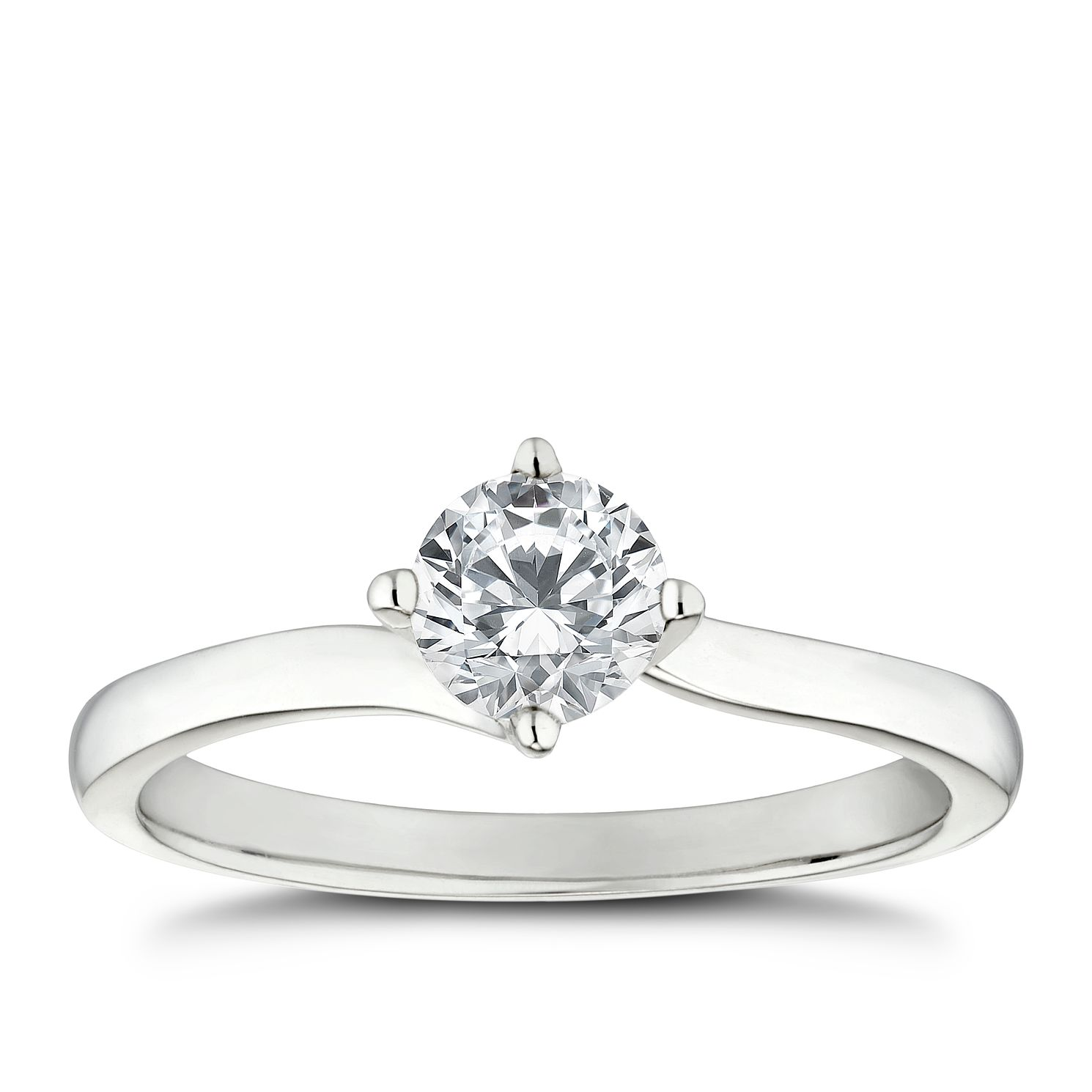 Platinum 0.50ct Diamond Solitaire 4 Claw Ring - Product number 5242290