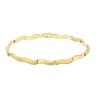 9ct Yellow Gold Wave Link Bracelet - Product number 5242487