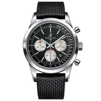 Breitling Transocean Men's Black Rubber Strap Watch - Product number 5242886