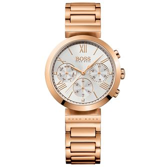 Hugo Boss Ladies' Rose Gold Plated Chronograph Strap Watch - Product number 5245508