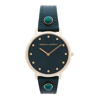 Rebecca Minkoff Major Ladies' Green Leather Strap Watch - Product number 5246067