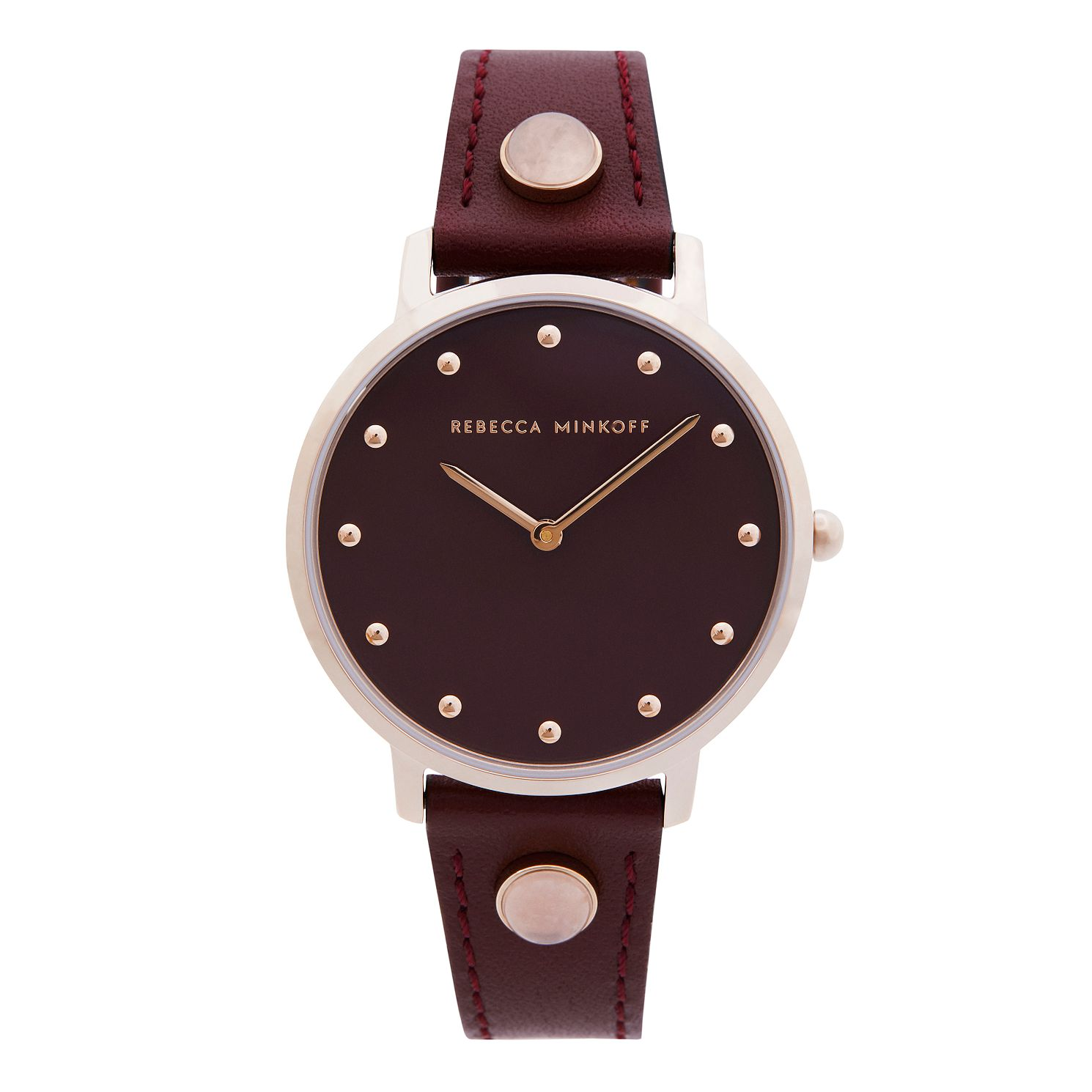 Rebecca Minkoff Major Ladies' Bordeaux Leather Strap Watch - Product number 5246083