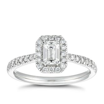 Platinum 2/3ct Diamond Emerald Cut Halo Ring - Product number 5246172