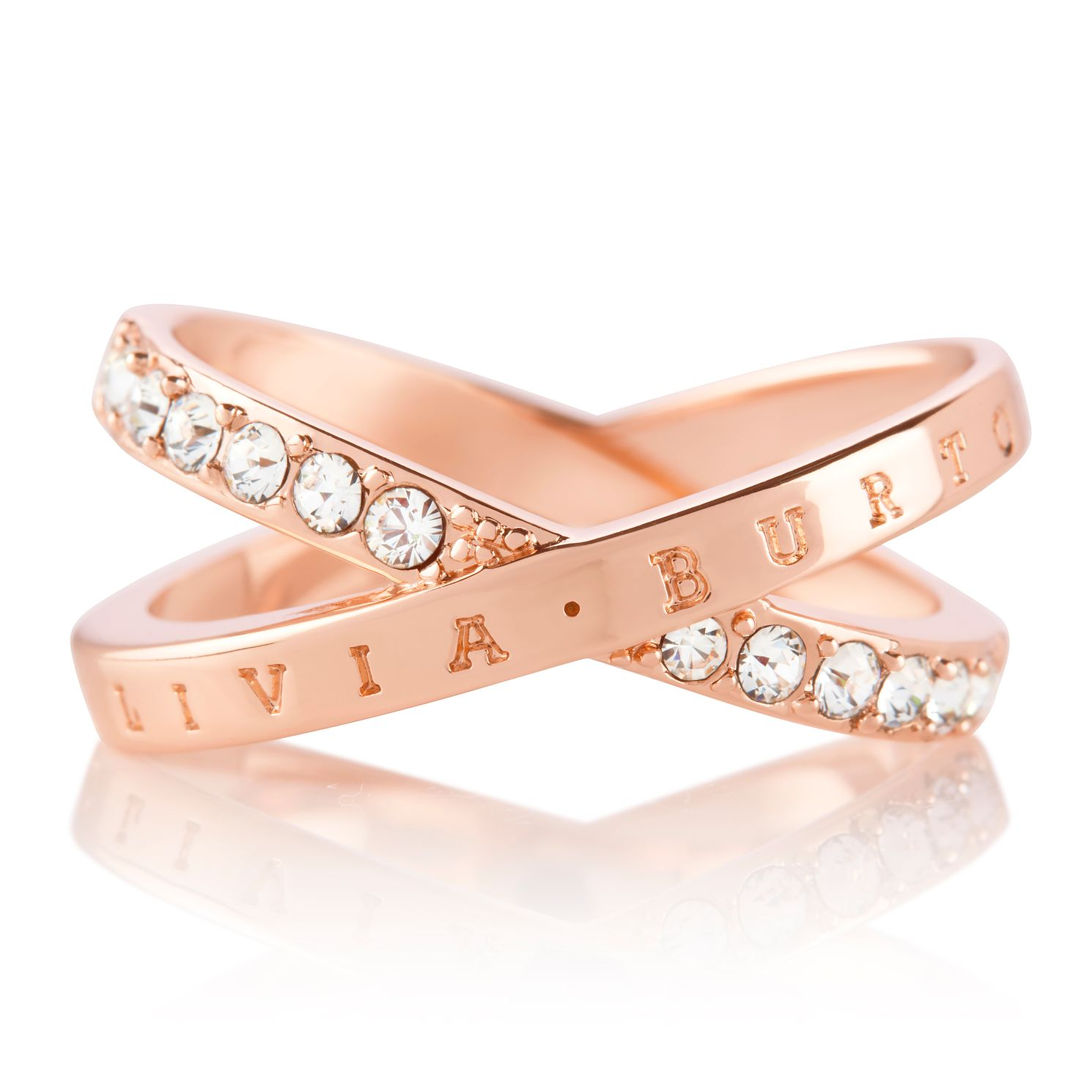 Olivia Burton Classics Interlink Rose Gold Tone Crystal Ring - Product number 5248140