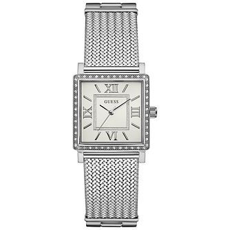 Guess Ladies' White Dial Stainless Steel Mesh Bracelet Watch - Product number 5248469