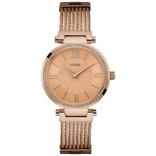 Guess Ladies' Stone Set Rose Gold-Plated Bracelet Watch - Product number 5248558