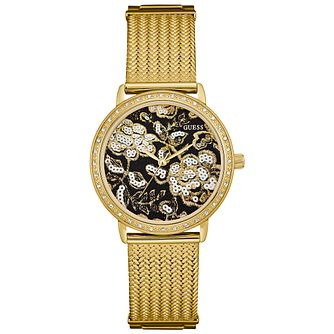 Guess Ladies' Gold-Plated Mesh Bracelet Watch - Product number 5248604