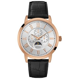 Guess Men's Moon Black Leather Strap Watch - Product number 5248647