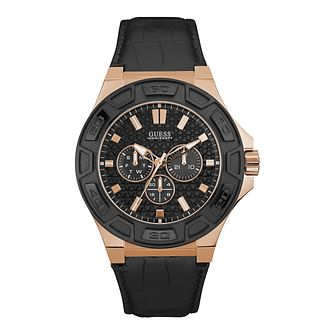 Guess Men's Black Dial Black Leather Strap Watch - Product number 5248655