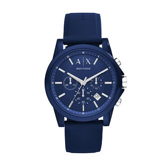 Armani Exchange Men's Blue Silcone Strap Watch - Product number 5249775