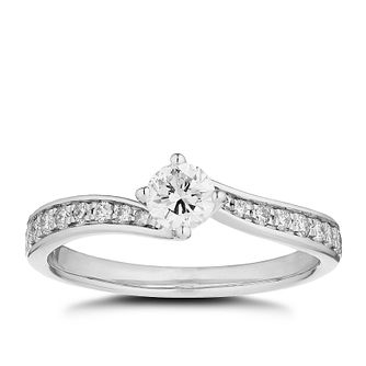 Platinum 1/2ct Diamond Twist Solitaire Ring - Product number 5250374
