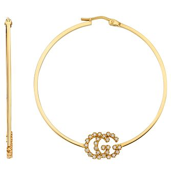 Gucci Running GG 18ct Yellow Gold Diamond Hoop Earrings - Product number 5251664