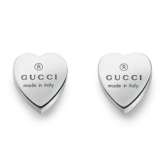 Gucci Trademark Engraved Heart Silver Stud Earrings - Product number 5251680