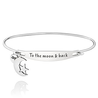 Chamila Sterling Silver To The Moon And Back ID Bangle M/L - Product number 5252512