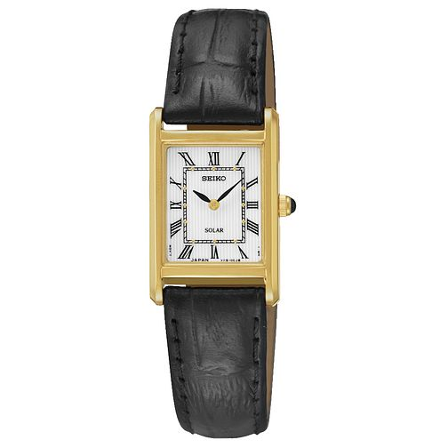 Seiko Solar Ladies' Gold Plated Black Leather Strap Watch - Product number 5252717