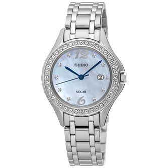 Seiko Solar Ladies' Swarovski Stainless Steel Bracelet Watch - Product number 5252776
