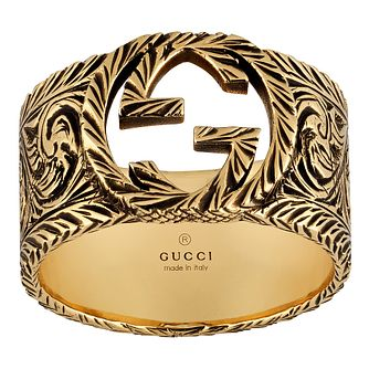 Gucci Interlocking G Men's 18ct Yellow Gold Ring - Size P - Product number 5253403