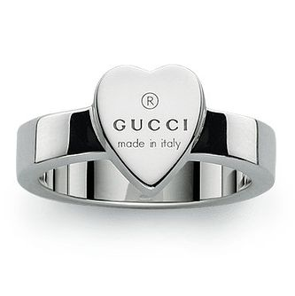 Gucci Trademark Engraved Heart Silver Ring - Size K - Product number 5253454