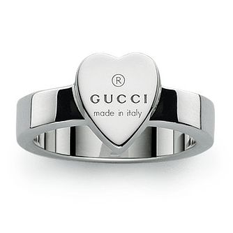 Gucci Trademark Engraved Heart Silver Ring - Size M - Product number 5253462
