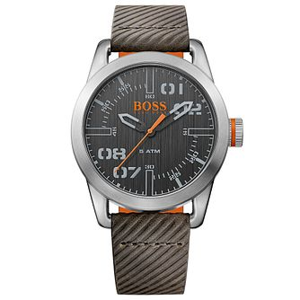 Boss Orange Oslo Men's Grey Leather Strap Watch - Product number 5254108