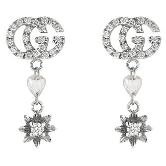 Gucci Flora 18ct White Gold Diamond Drop Earrings - Product number 5254817