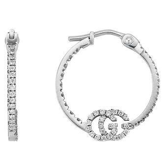 Gucci Running GG 18ct White Gold Diamond Hoop Earrings - Product number 5254825