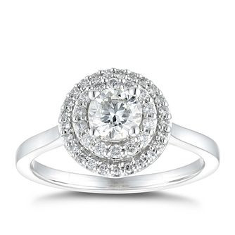 Platinum 0.66ct Total Diamond Round Double Halo Ring - Product number 5255228