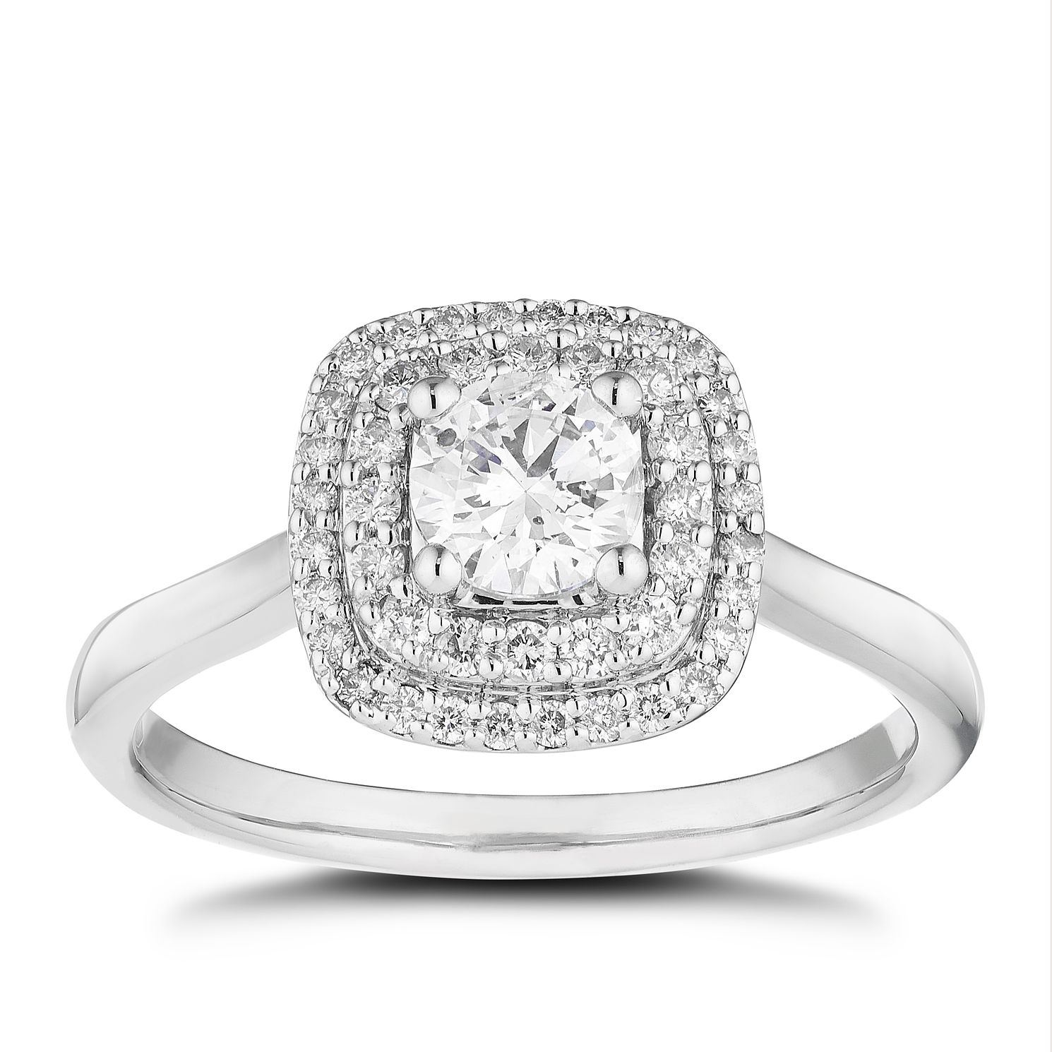 Platinum 2/3ct Diamond Cushion Double Halo Ring - Product number 5255880