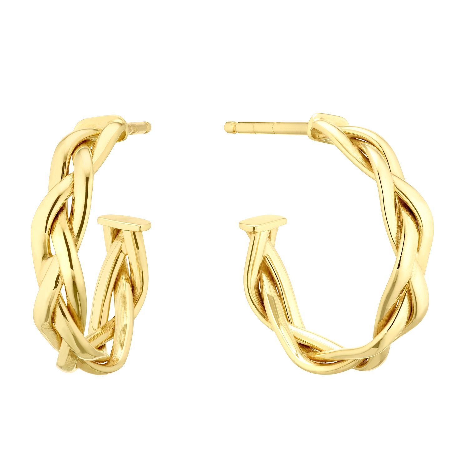 9ct Yellow Gold Braided Half Hoop Earrings - Product number 5256801