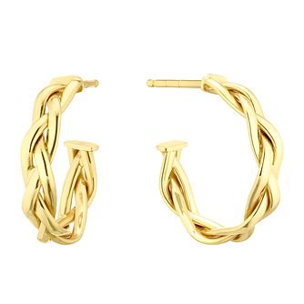 9ct Yellow Gold Braided 3/4 Hoop Earrings - Product number 5256801