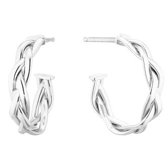 9ct White Gold Braided 3/4 Hoop Earrings - Product number 5256844