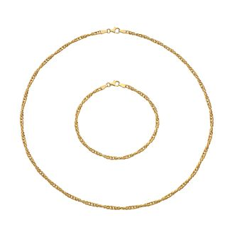 9ct Yellow Gold Chain Necklace & Bracelet Jewellery Set - Product number 5256976