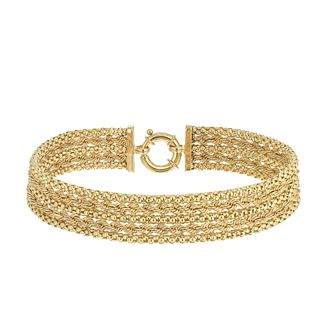 9ct Yellow Gold Wave Texture Multi-Strand Bracelet - Product number 5257026