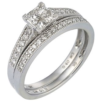 Perfect Fit Platinum 1/2ct Diamond Bridal Set - Product number 5257999