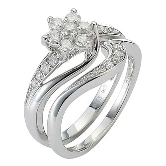 Perfect Fit 18ct White Gold 1/2ct Diamond Bridal Set - Product number 5258138
