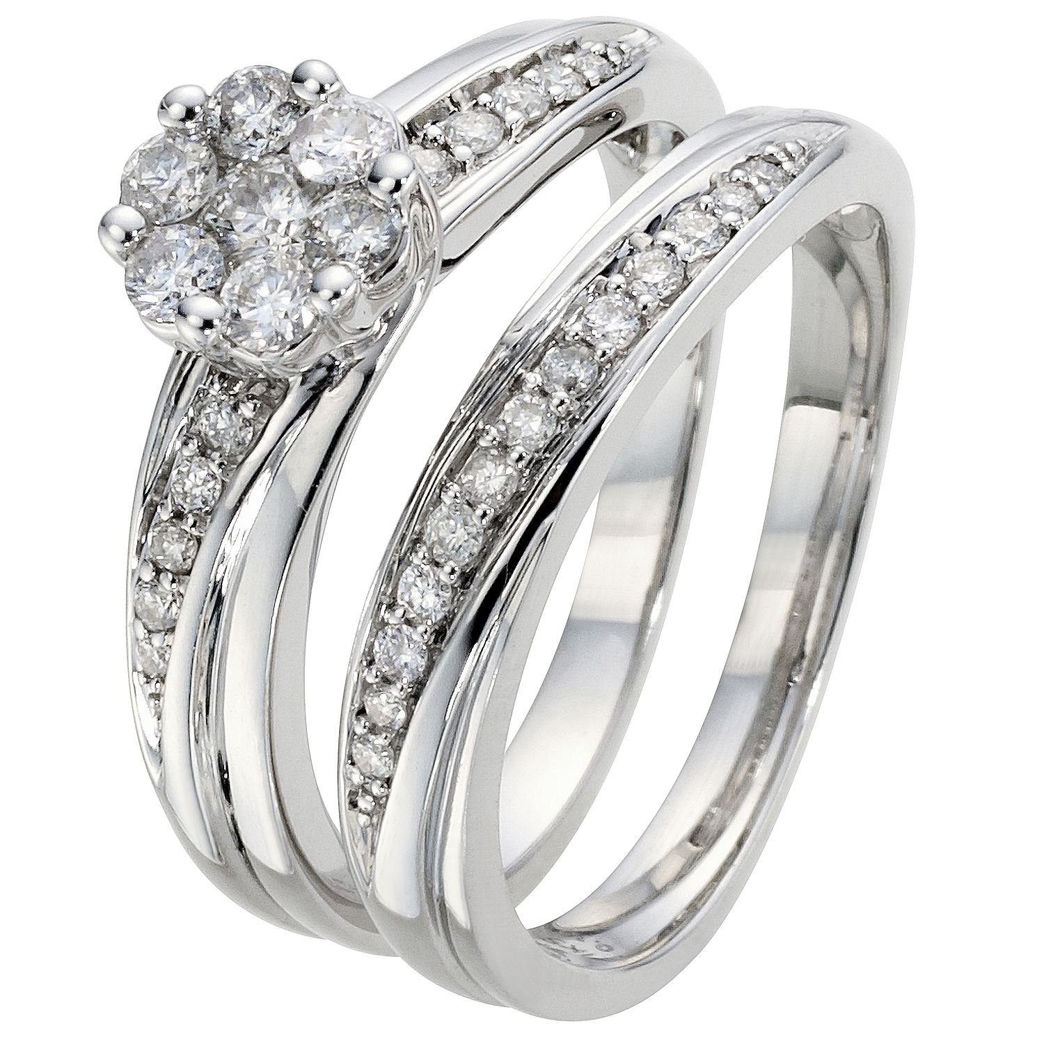 Perfect Fit 18ct White Gold 1/2ct Diamond Bridal Set - Product number 5258391