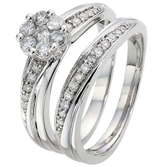 18ct White Gold 1/2ct Diamond Perfect Fit Bridal Set - Product number 5258391