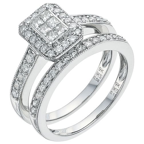 Platinum 3/4ct Diamond Perfect Fit Bridal Set - Product number 5258863