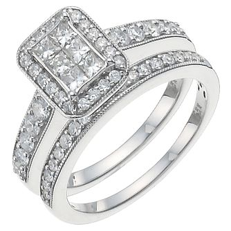 Platinum 1ct Diamond Perfect Fit Bridal Set - Product number 5259169