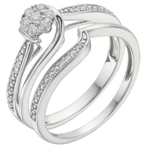 18ct White Gold 0.15ct Diamond Perfect Fit Bridal Set - Product number 5259290