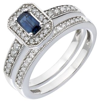 Perfect Fit 18ct White Gold Diamond & Sapphire Bridal Set - Product number 5260701